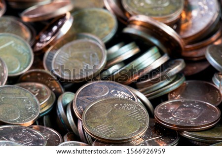 Coins background. euro coins. cent coins. euro cents Royalty-Free Stock Photo #1566926959