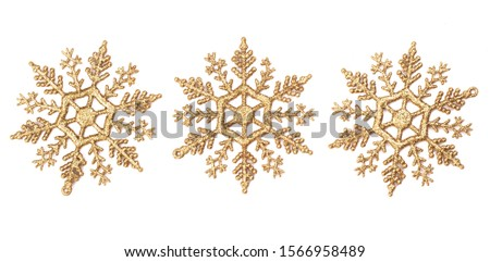 Golden snowflakes for christmas decoration isolated on white background