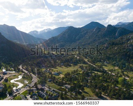 Mountain village in the evening drone landscape views #1566960337
