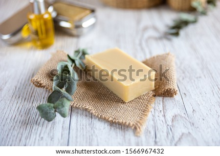 Natural bathroom product, handcrafted soap, horizontal Royalty-Free Stock Photo #1566967432