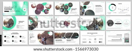 Green presentation templates elements on a white background. Vector infographics. Use in Presentation, flyer and leaflet, corporate report, marketing, advertising, annual report, banner. #1566973030