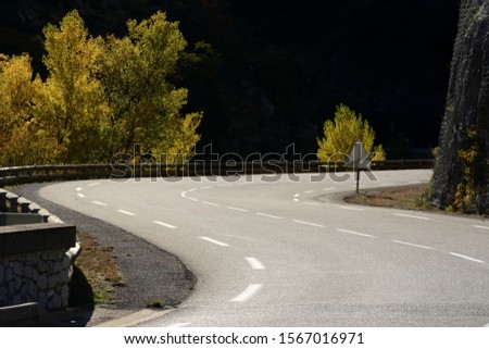 Sunny mountain road curve, lined with a wooden safety rail. It turns left, it turns right. Tees with autumnal colors. #1567016971