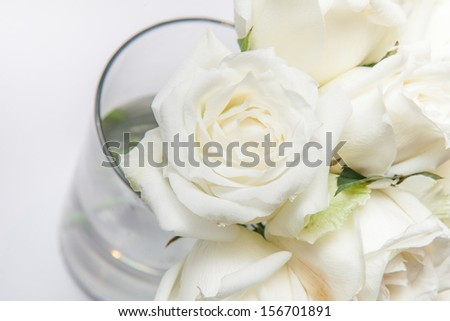 Bouquet of white roses in a vase - Isolated on white #156701891