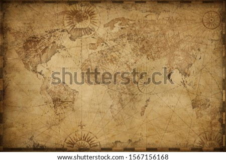 Vintage old world map based on image furnished by NASA Royalty-Free Stock Photo #1567156168