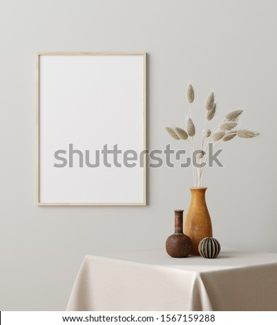 Mock up frame close up with dry grass in vase on table, Scandinavian style, 3d render #1567159288