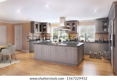 Hanoi / Vietnam - November 2019 : Modern house interior design for dining room and kitchen. Grey, white and wooden kitchen cabinet with stylish dining chair in warm colour scheme #1567229452