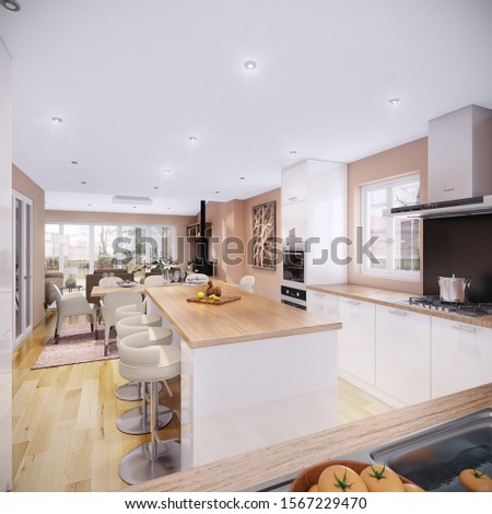 Hanoi / Vietnam - November 2019 : Modern house interior design for dining room and kitchen. Grey, white and wooden kitchen cabinet with stylish dining chair in warm colour scheme #1567229470