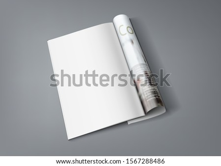 Realistic Magazine With Clear Page For Your Content. EPS10 Vector #1567288486