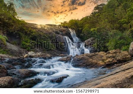 beautiful waterfall, bakers fall nuweraeliya srilanka Royalty-Free Stock Photo #1567298971