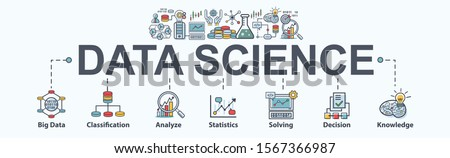 Data science banner web icon for Computer Science and insight, Ai, Big Data, algorithm, analyze, Statistic, knowledge, Deep and machine learning. minimal vector infographic concept. #1567366987
