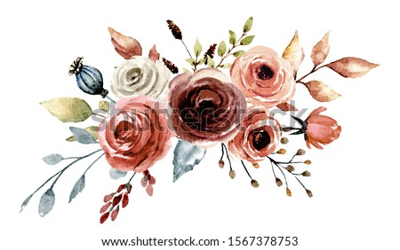 Flowers watercolor, floral clip art. Bouquet roses perfectly for printing design on invitations, cards, wall art and other. Isolated on white background. Hand drawing vintage botanical illustration.