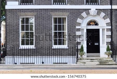 Ground floor facade of 18th century Georgian London house. #156740375