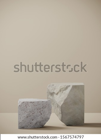 Minimal background for branding and packaging presentation. Random shape white stone on tan background. 3d rendering illustration.