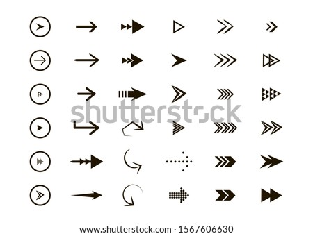 Set of black vector arrows. Arrow icon. Collection of concept arrows for web design, mobile apps, interface and more. #1567606630