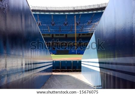 View of baseball stadium from ground level. #15676075
