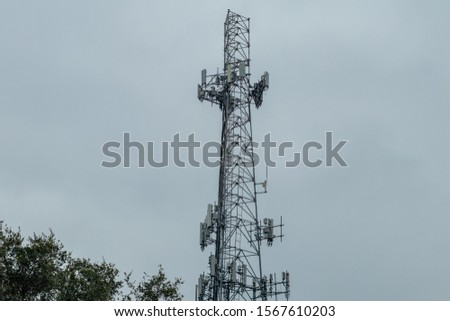 Coconut Creek, FL / USA - 10/17/2019 : Tradewinds Park - Communications 100 foot cell phone tower in Broward County #1567610203