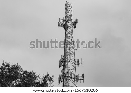 Coconut Creek, FL / USA - 10/17/2019 : Tradewinds Park - Communications 100 foot cell phone tower in Broward County #1567610206