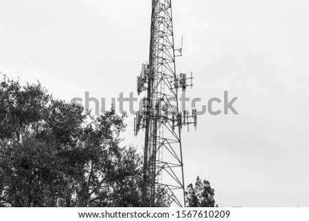 Coconut Creek, FL / USA - 10/17/2019 : Tradewinds Park - Communications 100 foot cell phone tower in Broward County #1567610209