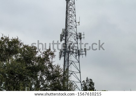 Coconut Creek, FL / USA - 10/17/2019 : Tradewinds Park - Communications 100 foot cell phone tower in Broward County #1567610215