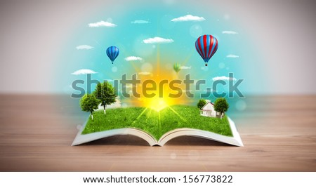 Open book with green nature world coming out of its pages, ecological concept #156773822