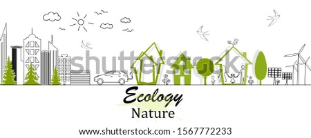 Environmentally friendly world. Black-white doodle drawing. Ecological history concept of a happy family. Eco friendly. Vector illustration.  #1567772233