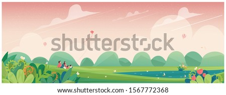 Wide panoramic of spring banner.Family outing to the park or  picnic in countryside  with kite,flower blossom and deer.Concept of people in spring. #1567772368