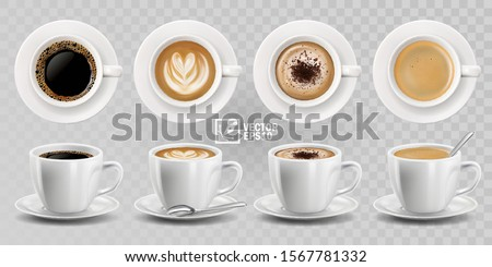 3d realistic vector isolated white cups of coffee with spoon, top and side view, cappuccino, americano, espresso, mocha, latte, cocoa #1567781332