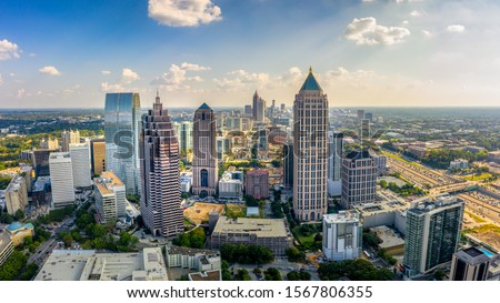 Aerial Panoramic picture of downtown Atlanta Skyline