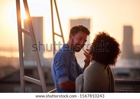 Romantic young couple during sunset.sensual couple in love. #1567810243