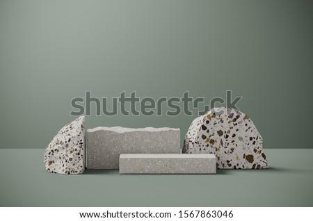 Minimal background for branding and packaging presentation. Random shape terrazzo on sage green background. 3d rendering illustration.
