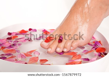 Woman putting feet in bowl of flower petals #1567879972