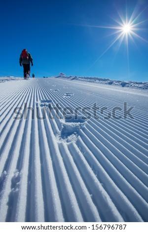 Skier is posing at camera at Gudauri resort in high mountaing of Georgia, Caucasus #156796787
