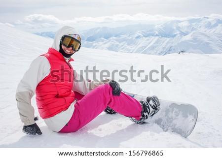 snowboarders is posing at camera at Gudauri resort in high mountaing of Georgia, Caucasus #156796865