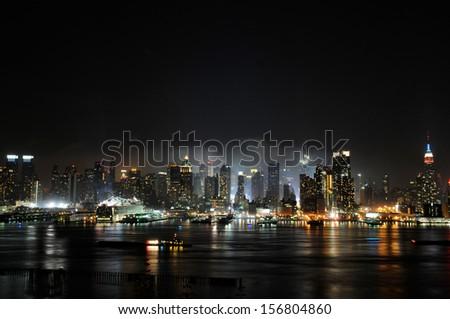 New York City skyline in the fog of night