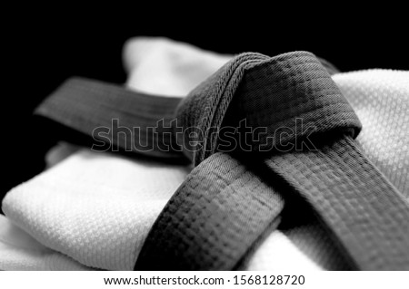 Black japanese martial art belt tied in a knot over white budo gi. Concept is applicable to sports, business or education Royalty-Free Stock Photo #1568128720