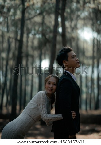 da lat, lam dong, viet nam - 12.12.2018: the wedding photo of  young cople  Vietnamese  #1568157601