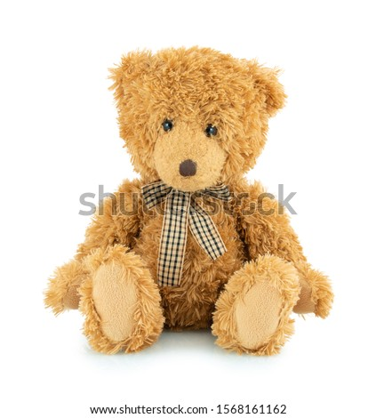 Bear plushie doll isolated on white background with shadow reflection. Plush stuffed puppet on white backdrop. Light brown fluffy toy for children. Cute furry animal plaything. #1568161162