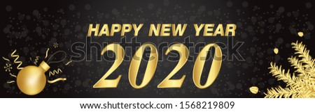 Happy New year 2020 on black  and bokeh snowflake background #1568219809