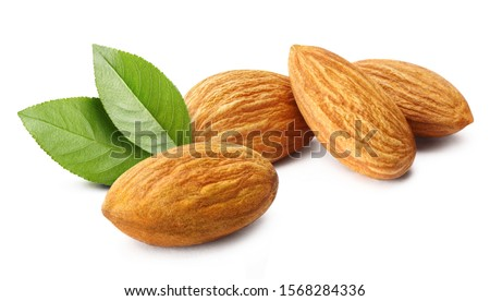 Close-up of delicious almonds with leaves, isolated on white background #1568284336