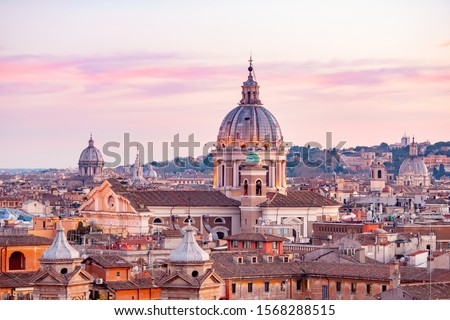 View of sunset city Rome from Castel Sant Angelo, Saint Peters Square in Vatican. #1568288515
