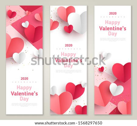 Valentine's day concept, vertical banners set. Vector illustration. 3d red and pink paper hearts frame. Cute love sale banner or greeting card #1568297650