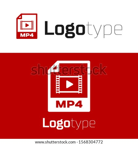Red MP4 file document. Download mp4 button icon isolated on white background. MP4 file symbol. Logo design template element. Vector Illustration