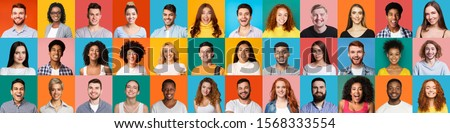 Collage of multiethnic happy people portraits on colored backgrounds, panorama #1568333554