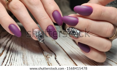 Design sexy pink manicure on long beautiful nails #1568415478
