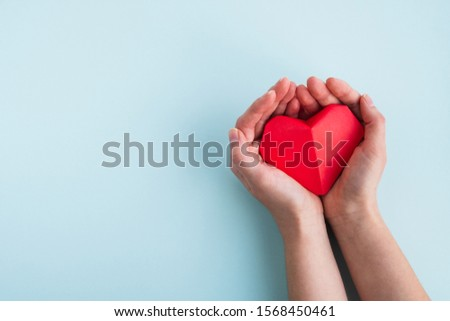 Cardiology and medical concept. Womans hands hold red heart on a light blue background. Top view, copy space #1568450461