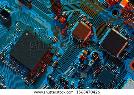 Electronic circuit board close up. #1568470426