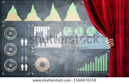 Hand opening red curtain and drawing business graphs and diagrams behind it #1568476558