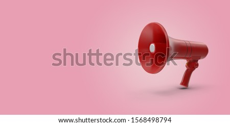 Megaphone in abstract pastel coral pink color paint with pastel pink background. Creative concept composition with copy space. 3D rendering. #1568498794