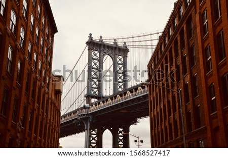 New York City/USA - January 26, 2015: Manhattan Bridge, DUMBO, New York City, USA.