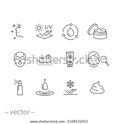 care skin icon set, sunscreen safeing for uv and cold, cleansing and moisturizing, face mask, elasticity skin covering, thin line symbol - editable stroke vector illustration eps10 #1568532451